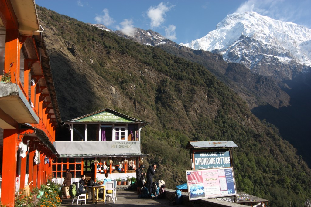 The famed Chomrung Cottage. With Annapurna South towering over it.