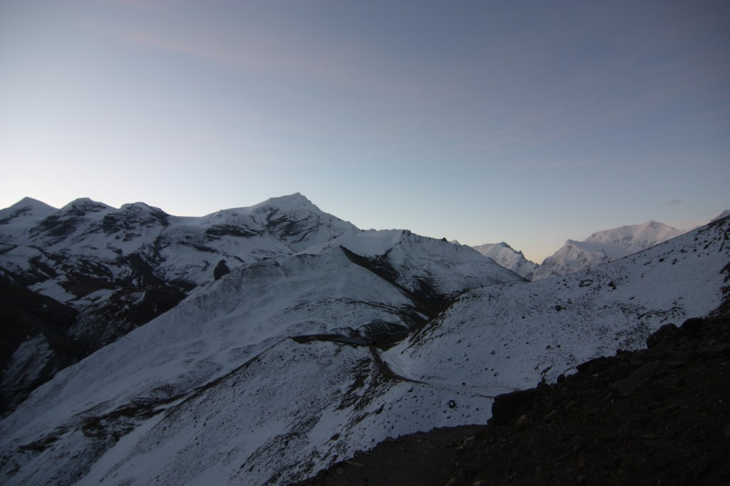 Amongst the ice capped peaks. Notice the horizon.