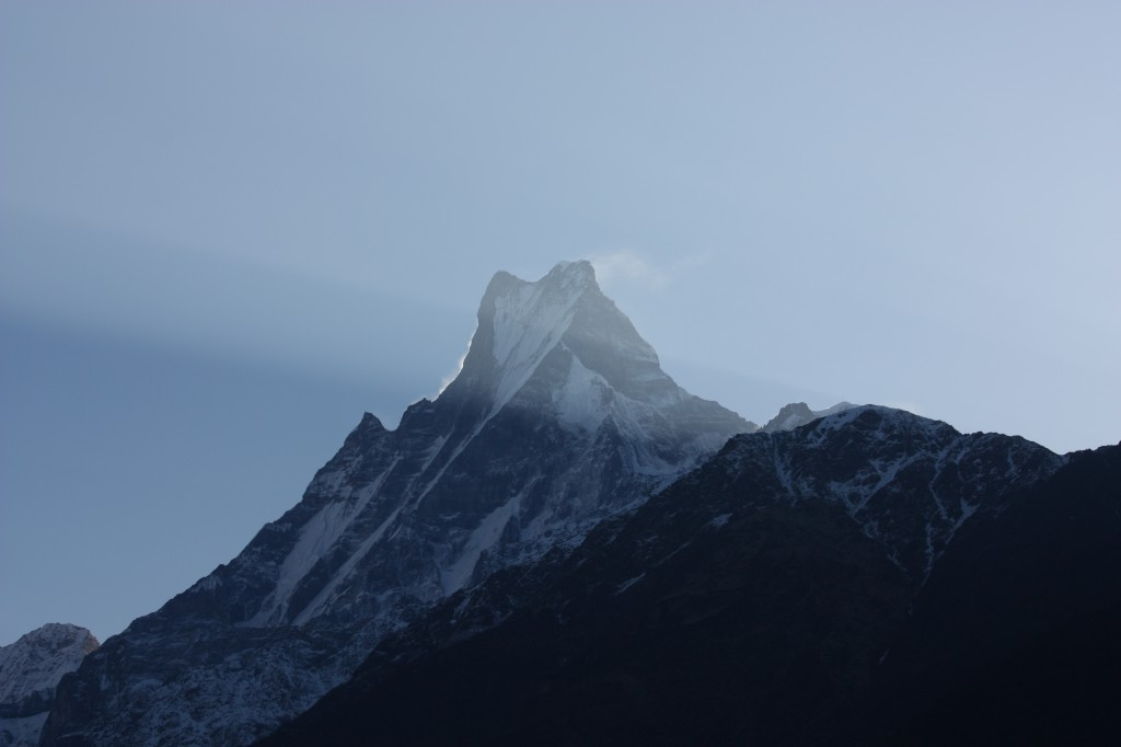 The Fish Tailed mountain. Macchapuchhare. With the morning sun rays.