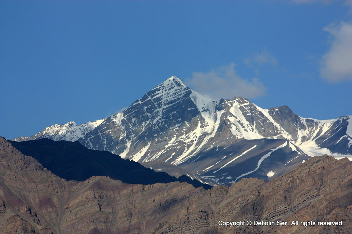 Stok Kangri, the highest peak in the Stok Range as seen from a monastery in Leh