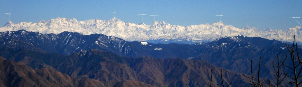 Gangotri Group as seen from Benog Tibba, Mussorrie